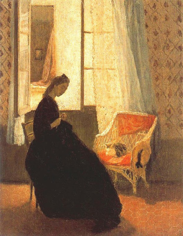 Interior with Woman Sewing at Window and Cat Gwen John