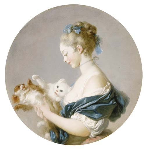 Girl Playing with a Dog and Cat (said to be Portrait of Marie Madeleine Colombe Jean Honoré Fragonard