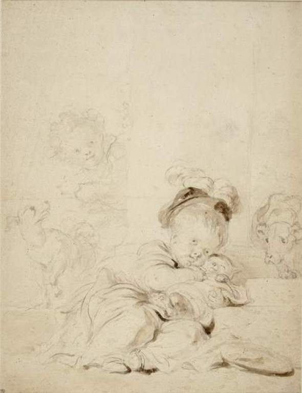 The Wrapped up Cat cats in art Jean Honoré Fragonard