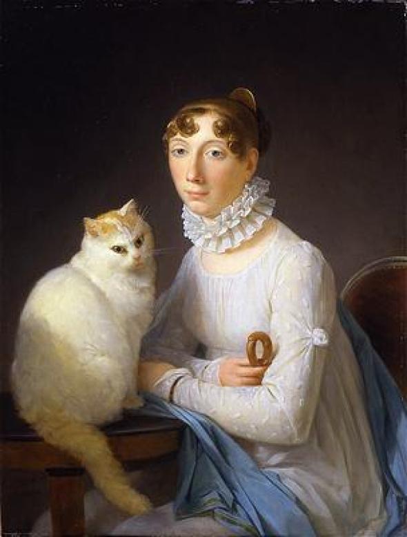 La Dame avec Son Chat Marguerite Gérard Oil on Canvas Private Collection, Germany