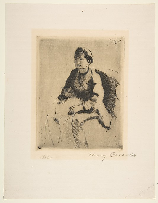 Robert Holding a Cat Drypoint Mary Cassatt 1882