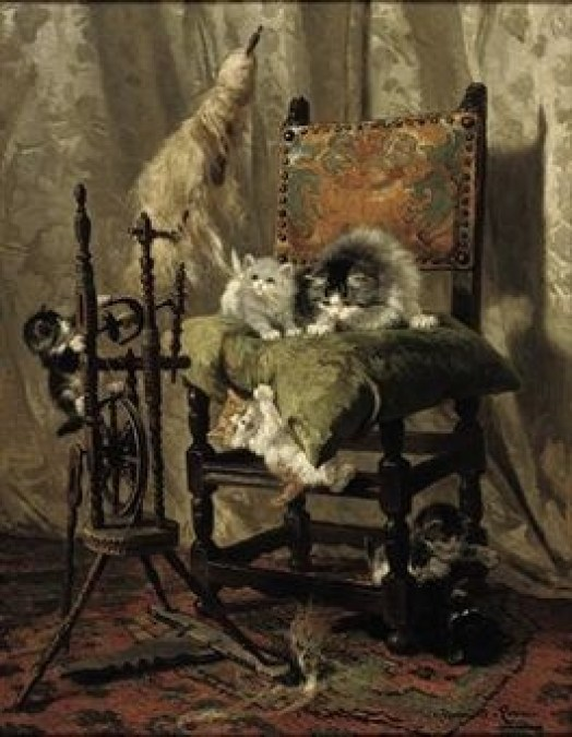 Playful Kittens by a Spinning Wheel Henriette Ronner-Knip Oil on Canvas Private Collection