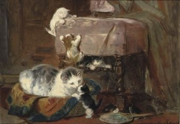 Playing Cats Henriette Ronner-Knip Oil on Paper laid on Panel Private Collection