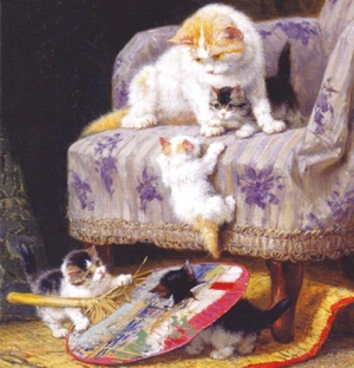 Cat and Kittens Playing with a Fan Henriette Ronner-Knip Private Collection