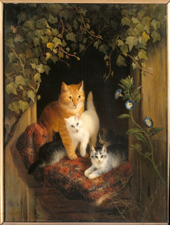 Mother Cat and Young Henriette Ronner-Knip 1844 Private Collection