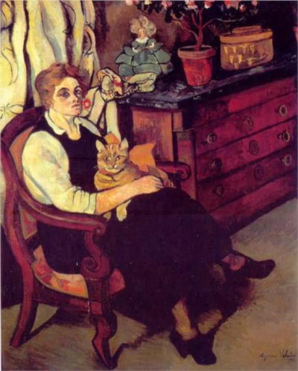Miss Lily Walton and Cat Suzanne Valadon 1922