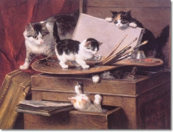 The Painting Lesson Henriette Ronner-Knip Private Collection