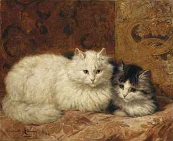 Two Cats on a Cushion Henriette Ronner-Knip Oil on Panel Private Collection