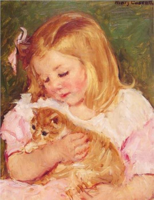 Sara Holding a Cat Mary Cassatt Oil on Canvas 1908 Private Collection