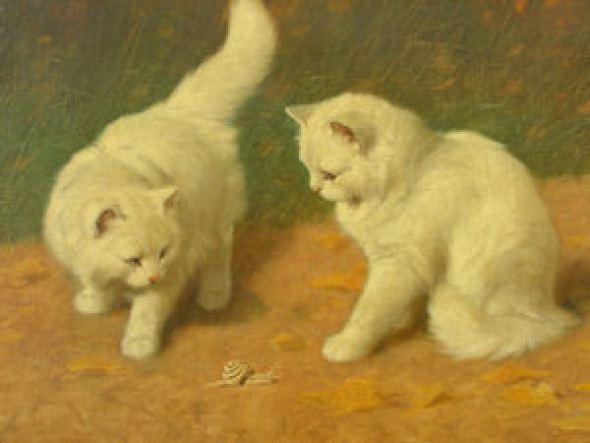 Two Kittens with a Snail Private Collection