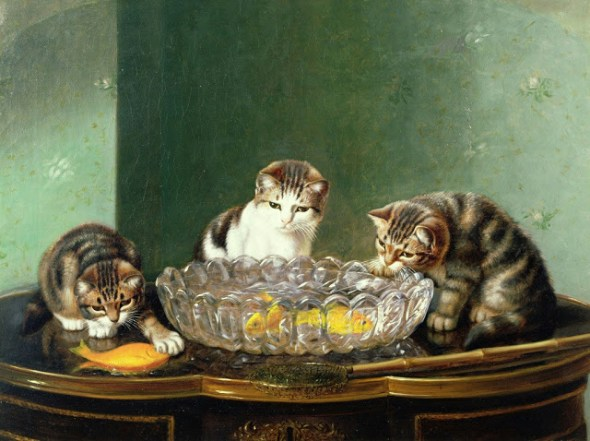 The Fishing Party Horatio Henry Couldery Private Collection cats and kittens in art