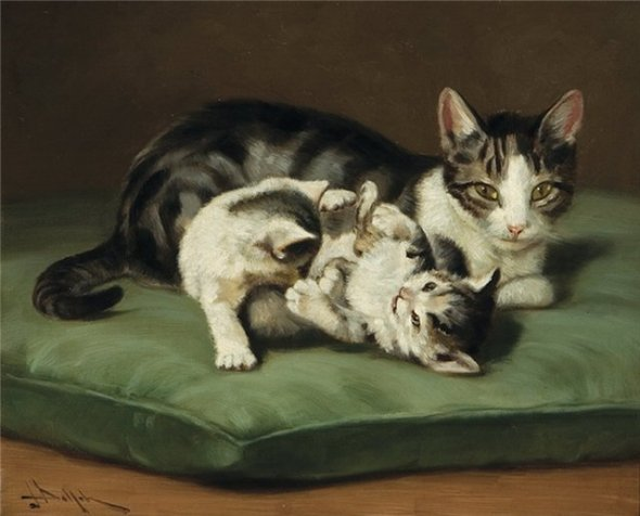 Mother and Kittens Private Collection cats in art