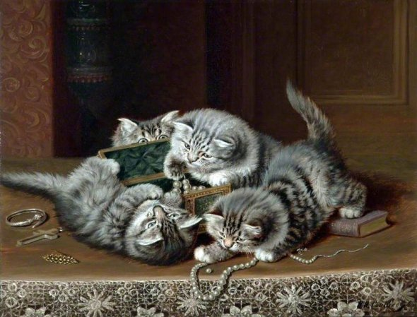 Playing with Jewels Horatio Henry Couldery Private Collection cats in art