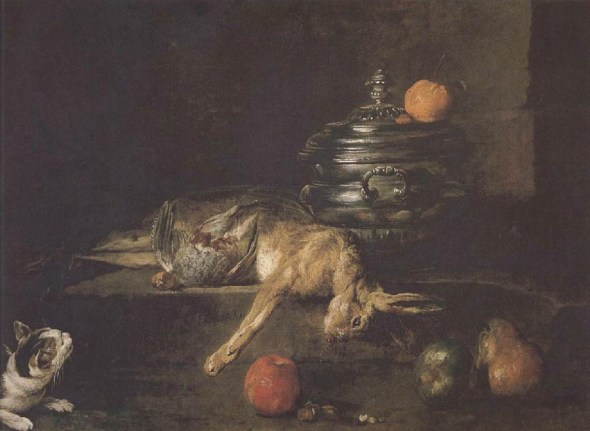 Partridge, Hare and Cat Jean Baptiste Simeon 1730 Adolph Menzel Museum, Berlin cats in art