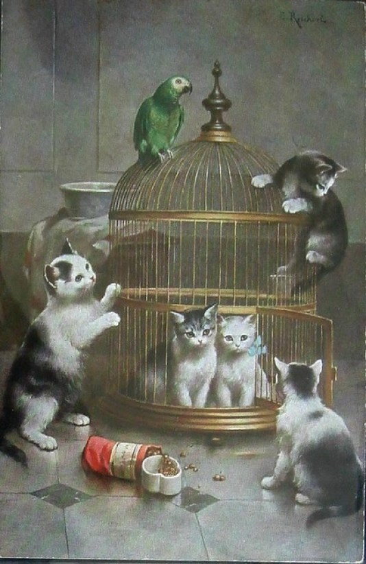 Kittens and Parrot Carl Reichert Private Collection