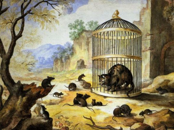 Cat in a Cage Surrounded by Mice Gottfried Mind Private Collection