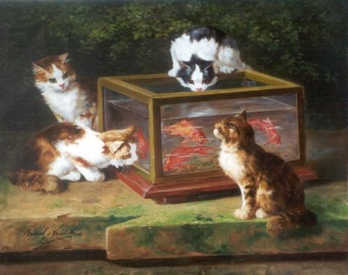 Four Kittens around a Fish Tank Alfred Arthur Brunel de Neuville