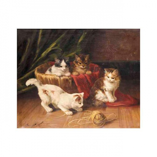 Four Kittens with a Ball of String