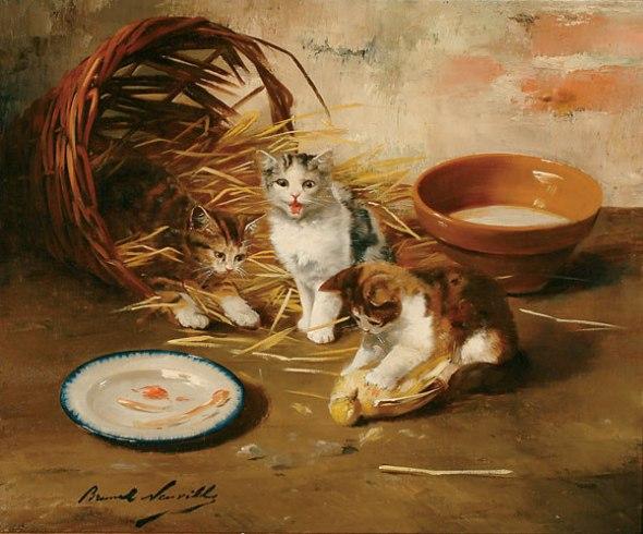 Kittens and a Dead Bird kittens in art