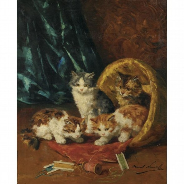 Kittens Playing with Thread Alfred de Neuville