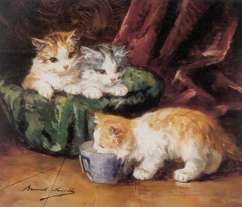 Kittens with a Tea Cup of Milk de Neuvel