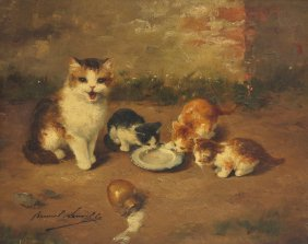 Mother and Kittens with Milk