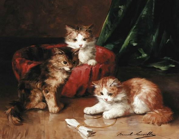 Three Kittens Playing Brunel de Neuville