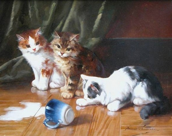 Three Kittens and a Spilt Cup of Milk Brunel de Neuville