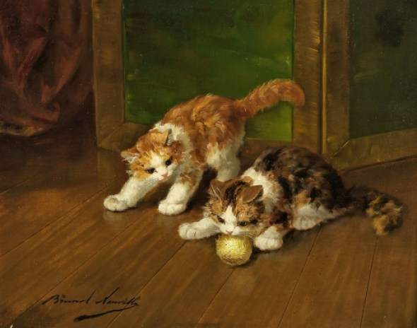 Two Kittens Playing with String Brunel de Neuville