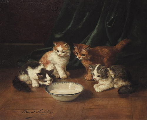 Four Kittens and a Bowl of Milk cats in art