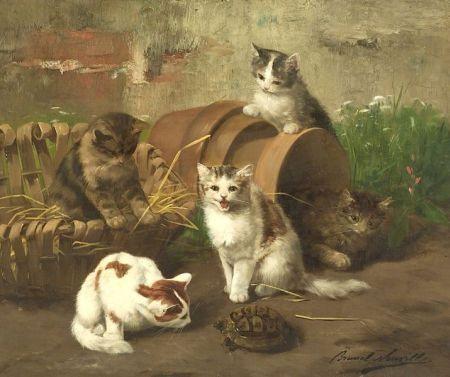 Kittens and a Turtle Brunel de Neuville