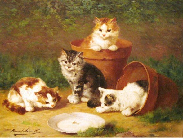 Kittens and Pots cats in art