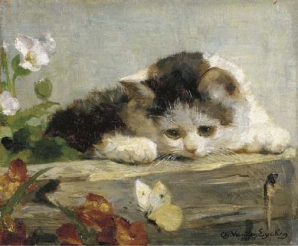A Difficult Catch, Charles Van den Eycken Private Collection kittens in art