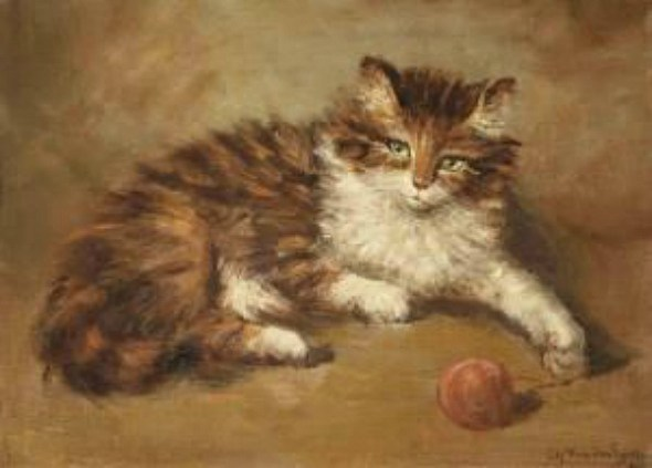 Cat and String Private Collection cats in paintings