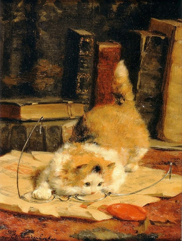 Chat aux Lunettes, Charles Van den Eycken 1918 Private Collection