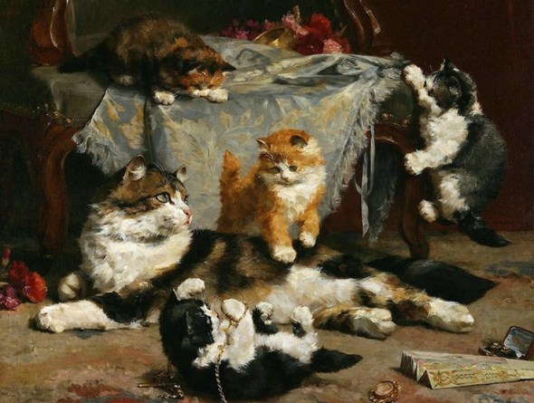 Kittens at Play, Charles Van den Eycken Private Collection