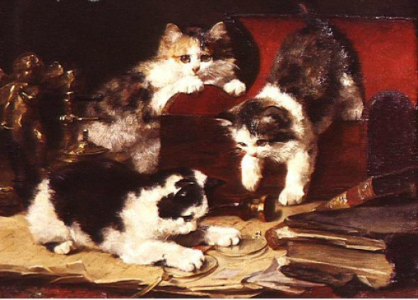 Kittens Playing with Glasses, Charles Van den Eycken Private Collection