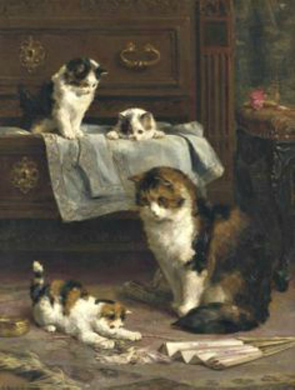 Mother Cat and Three Kittens in Bedroom, Charles Van den Eycken Private collection