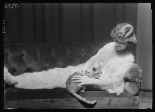 Miss Ann Murdock with Buzzer the Cat 1910