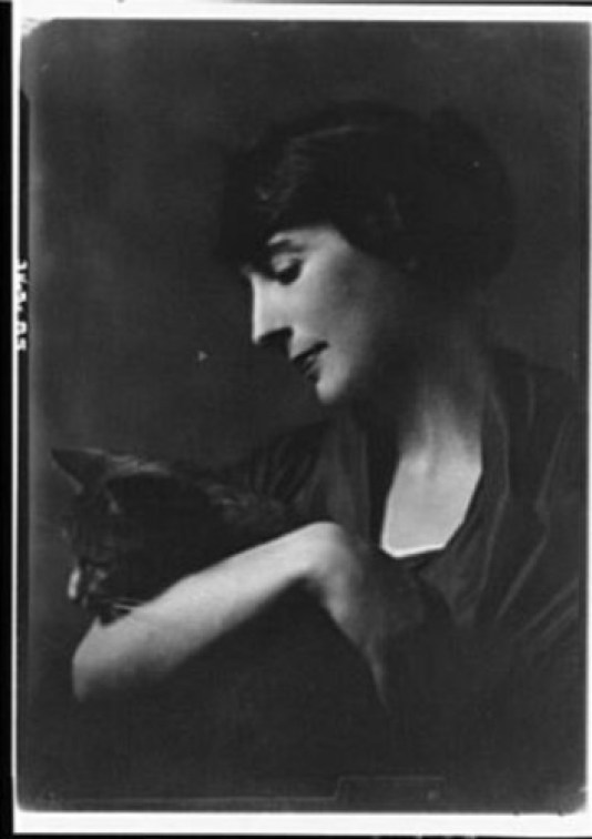Mrs. M. Erraguriz with Buzzer the Cat 1919