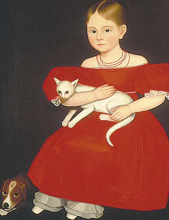 Ammi-Phillips-Young-Girl-with-a-Cat-and-Dog cats in folk art