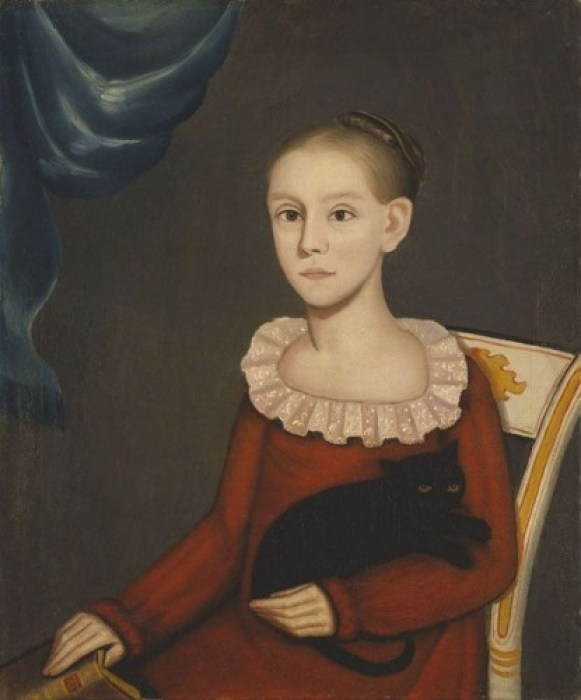 Girl with Cat,ca. 1814. Oil on canvas Amon Carter Museum of American Art, Fort Worth cats in American art