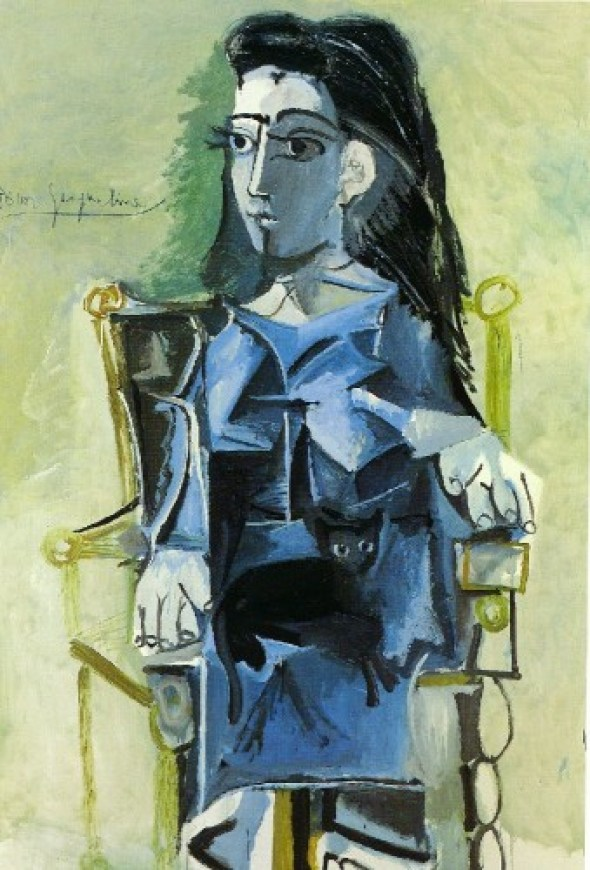 Jacqueline assise avec son chat, (Jacqueline Seated with her Cat) 1964 Musée des Beaux-Arts, Montréal Picasso Cats Cats in art history