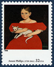 Ammi Phillips postage stamp 1998 cats in art