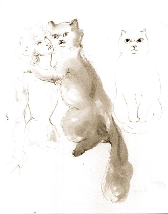 Leonor Fini Etude pour Les Descriptions Merveilleuses Pen and ink wash 1973