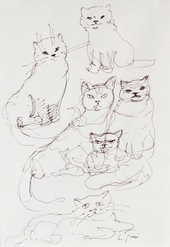 Cats Ink Drawing 1974 Leonor Fini