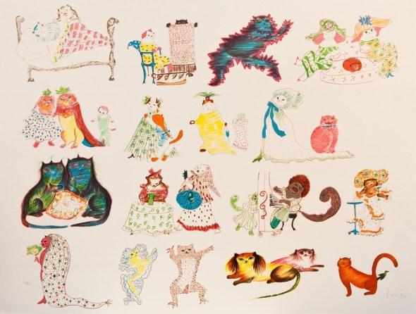 29 Chats et un oiseau (29 Cats and a Bird) Leonor Fini