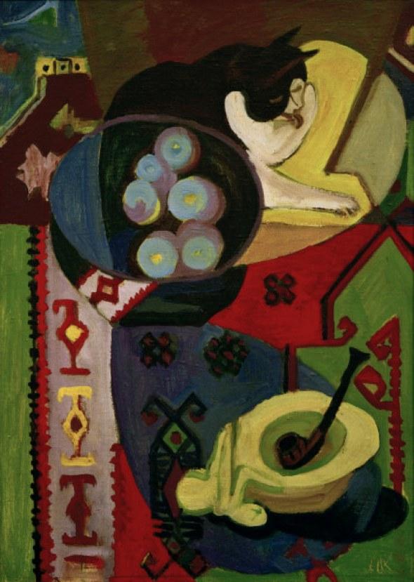 E.L.Kirchner, Stilleben mit Katze, Still-life with cat, cats in art