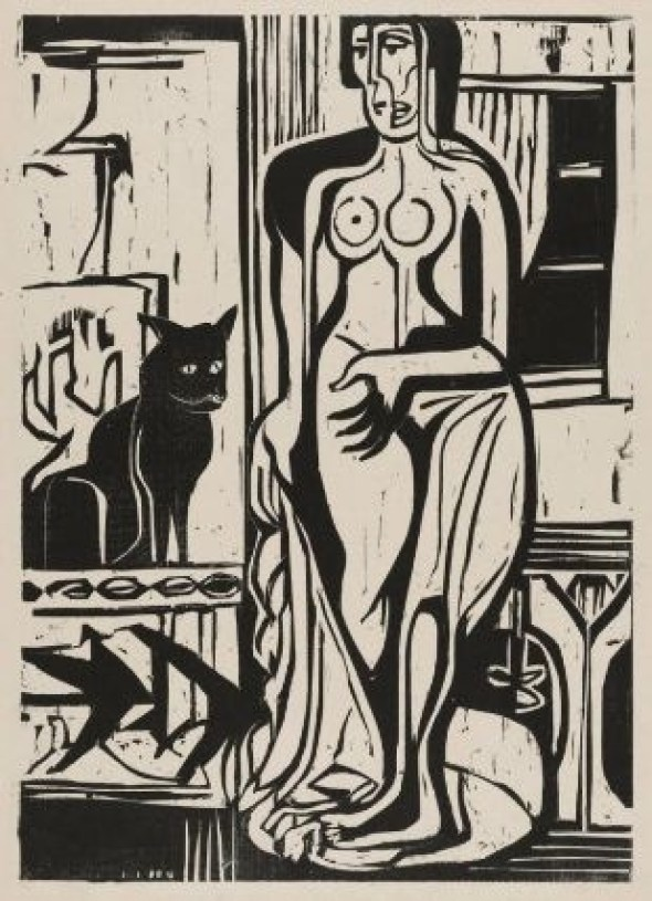 Kirchner Nackte Frau mit Katze Nude with Cat 1927 Museum of Fine Arts Boston
