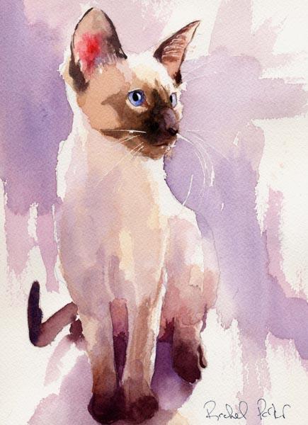 Sit with Lavender, Rachel Parker siamese cat in art